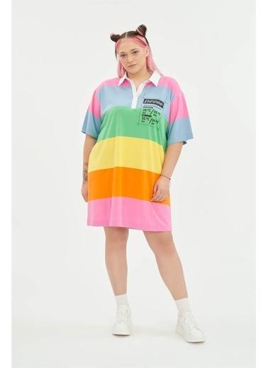 Luokk Barry Gömlek Yaka Baskılı Bol Kesim Elbise Multicolor Renkli